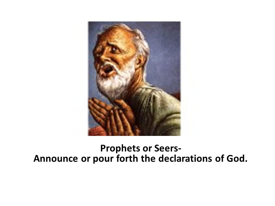 Prophets or Seers- Announce or pour forth the declarations of God.