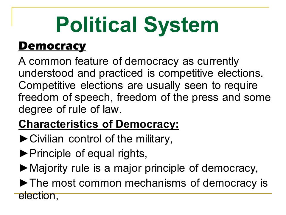 What are the four Characteristics of Democracy?
