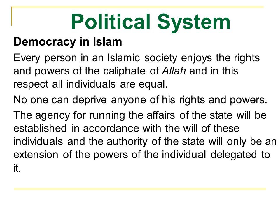Political System Democracy in Islam