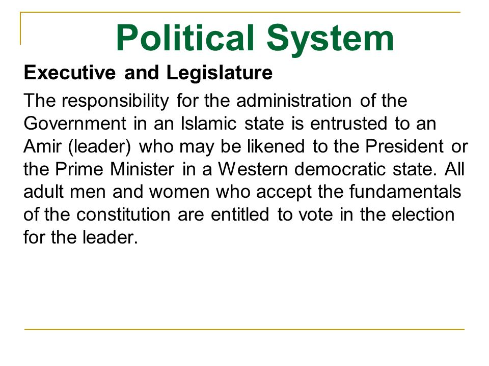 Political System Executive and Legislature