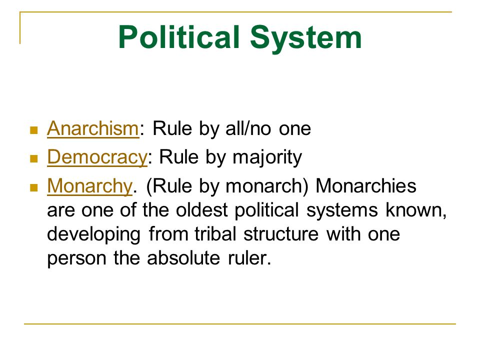 Political System Anarchism: Rule by all/no one