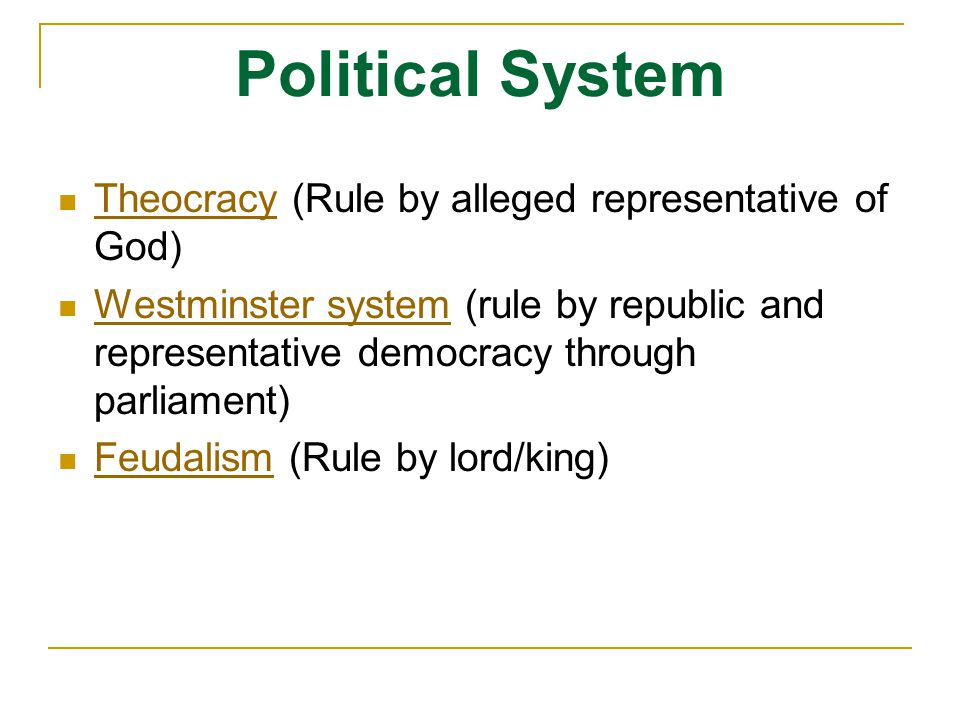Political System Theocracy (Rule by alleged representative of God)