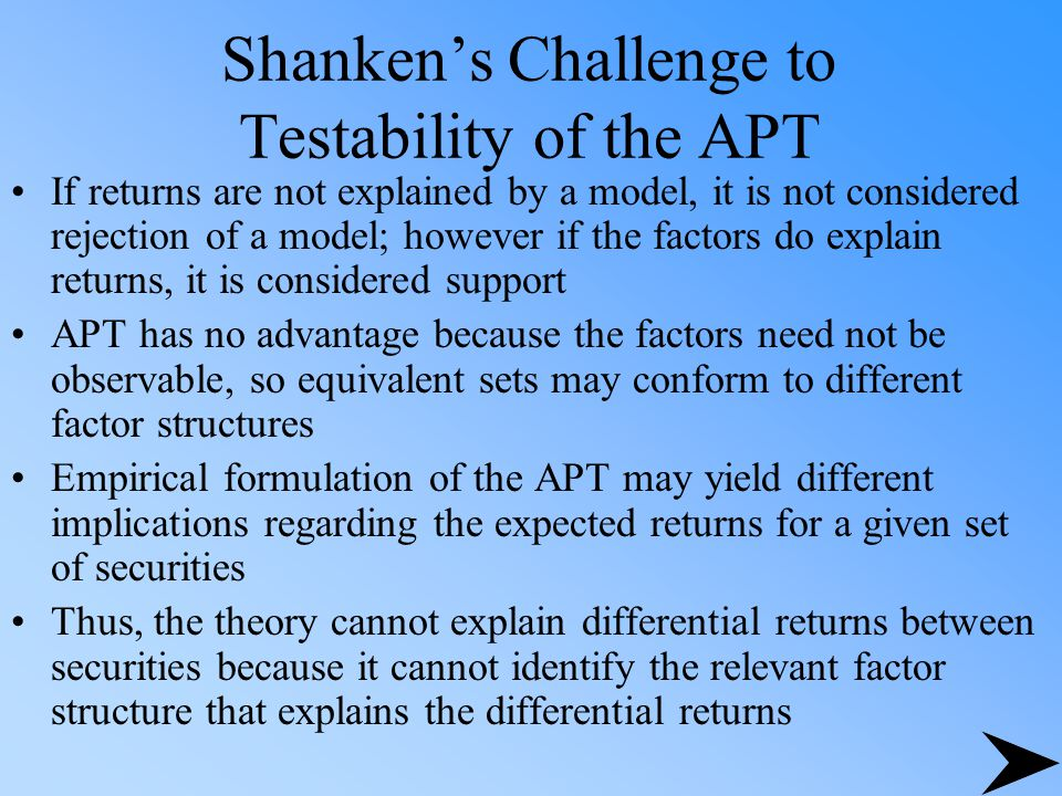 Shanken's Challenge to Testability of the APT