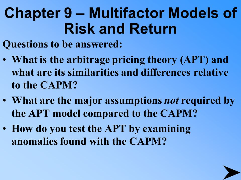 Chapter 9 – Multifactor Models of Risk and Return