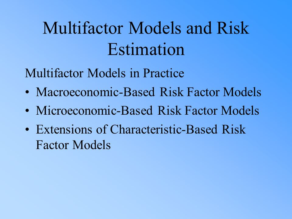 Multifactor Models and Risk Estimation