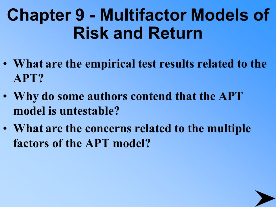 Chapter 9 - Multifactor Models of Risk and Return