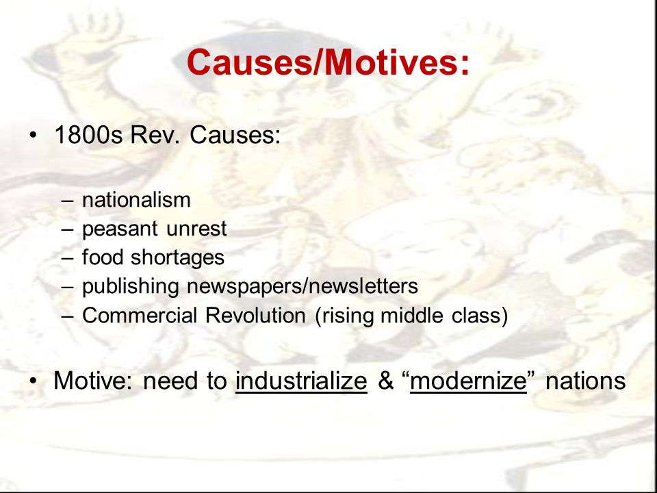 Causes/Motives: 1800s Rev. Causes: