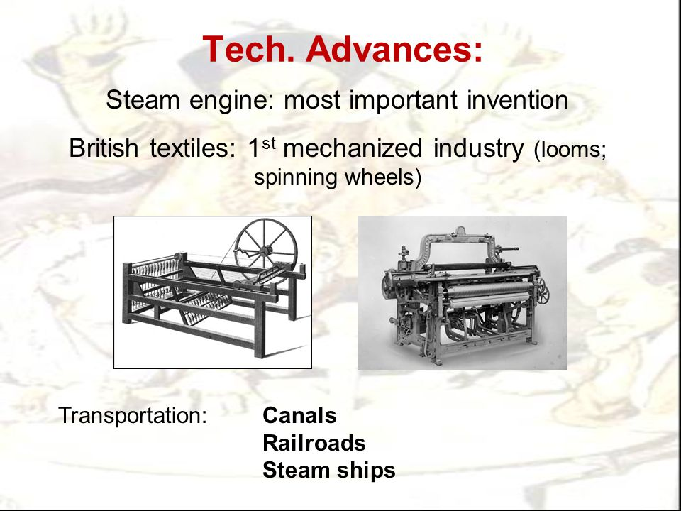 Tech. Advances: Steam engine: most important invention