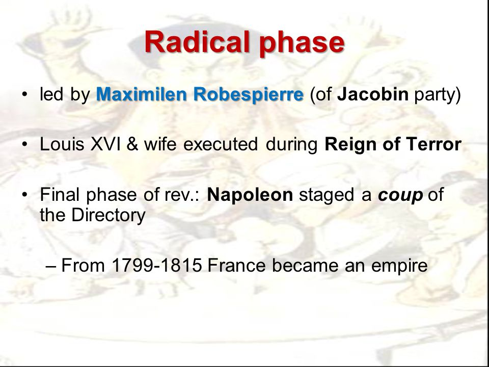 Radical phase led by Maximilen Robespierre (of Jacobin party)