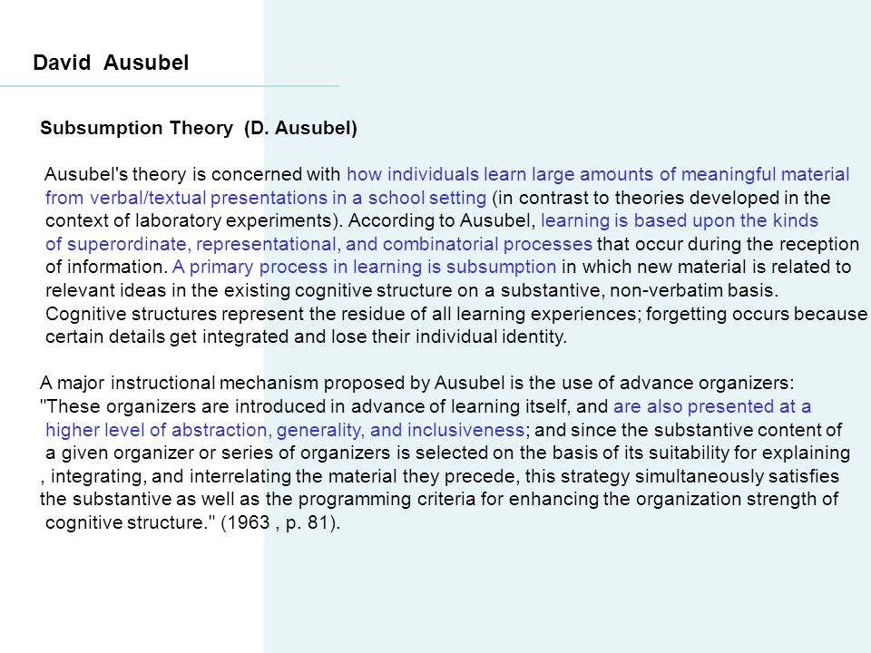 David Ausubel Subsumption Theory (D. Ausubel)