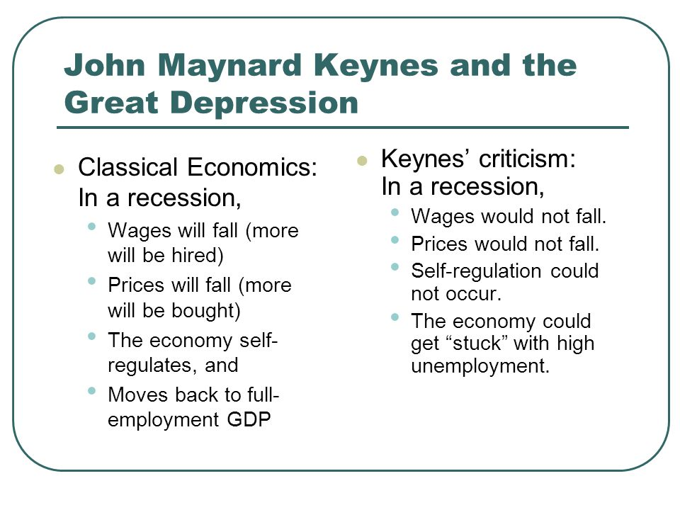 John Maynard Keynes and the Great Depression