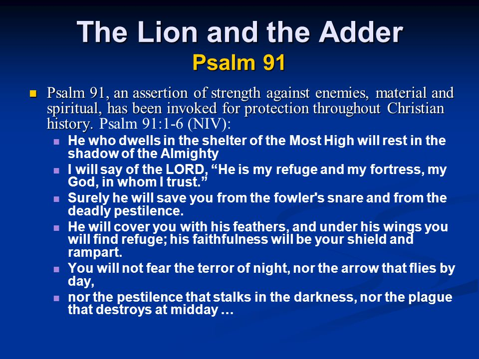 The Lion and the Adder Psalm 91