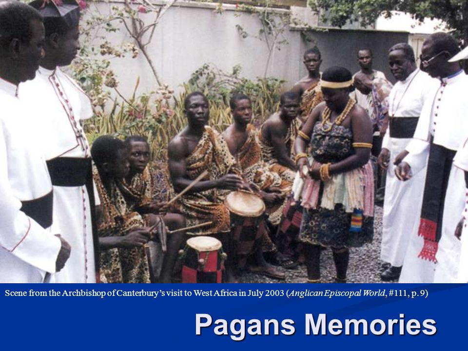 Scene from the Archbishop of Canterbury's visit to West Africa in July 2003 (Anglican Episcopal World, #111, p. 9)