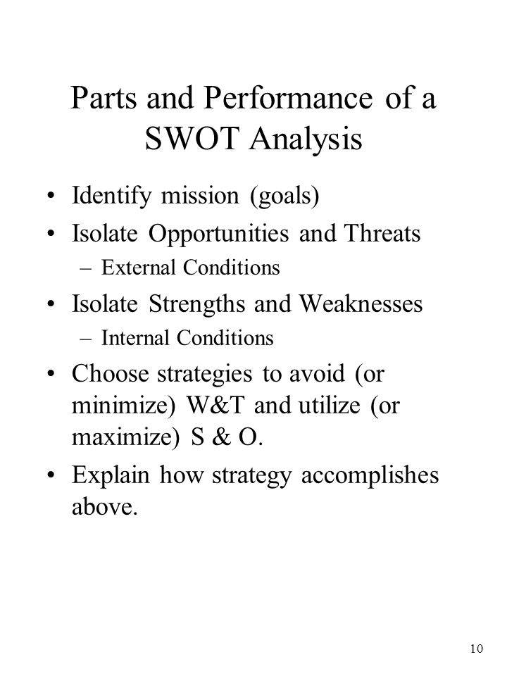 Parts and Performance of a SWOT Analysis