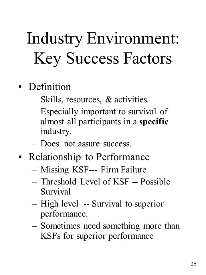 Industry Environment: Key Success Factors