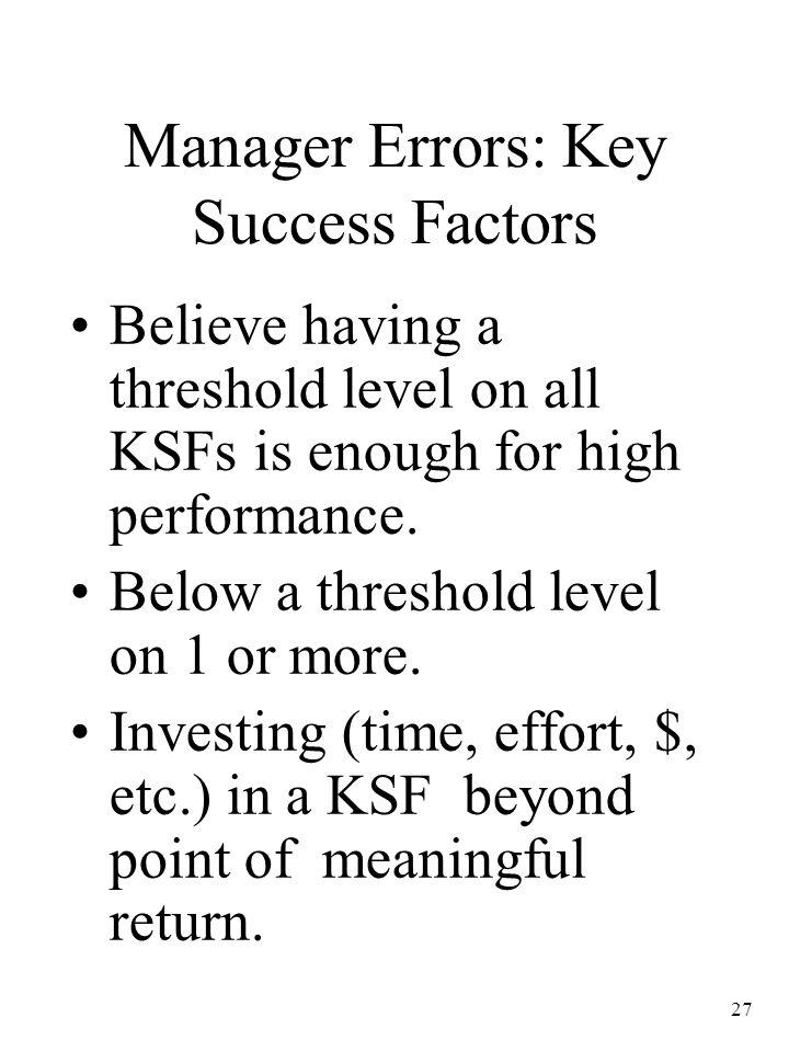 Manager Errors: Key Success Factors