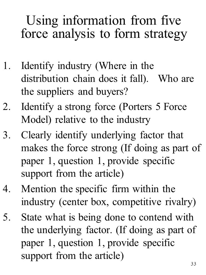 Using information from five force analysis to form strategy