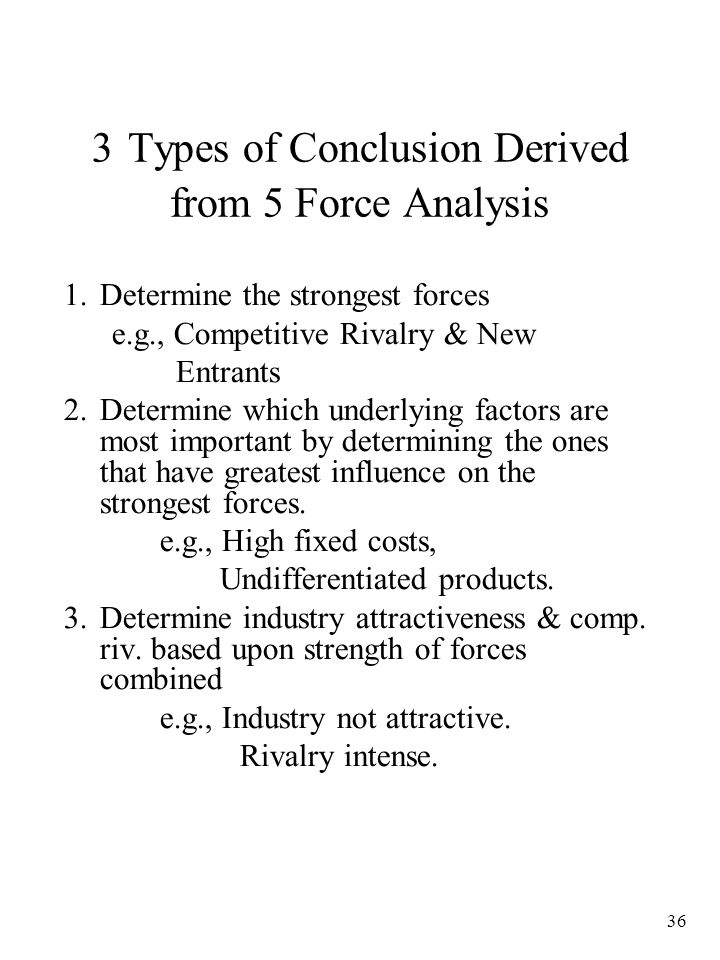 3 Types of Conclusion Derived from 5 Force Analysis