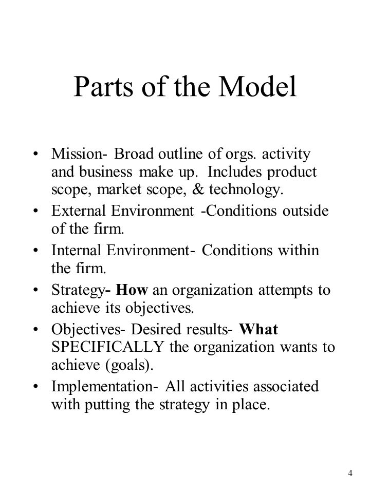 Parts of the Model Mission- Broad outline of orgs. activity and business make up. Includes product scope, market scope, & technology.
