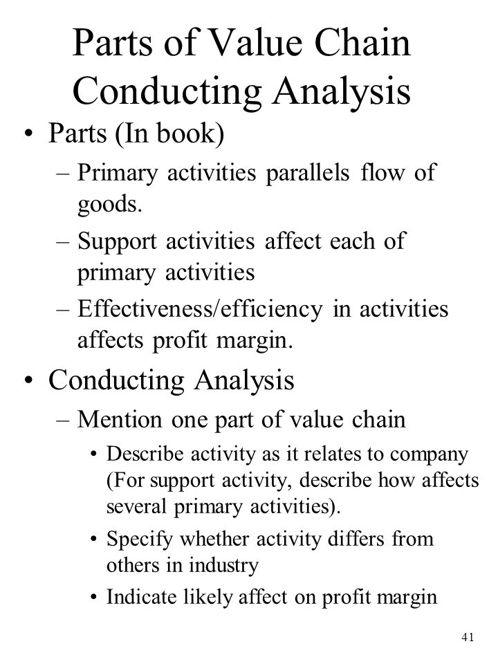 Parts of Value Chain Conducting Analysis