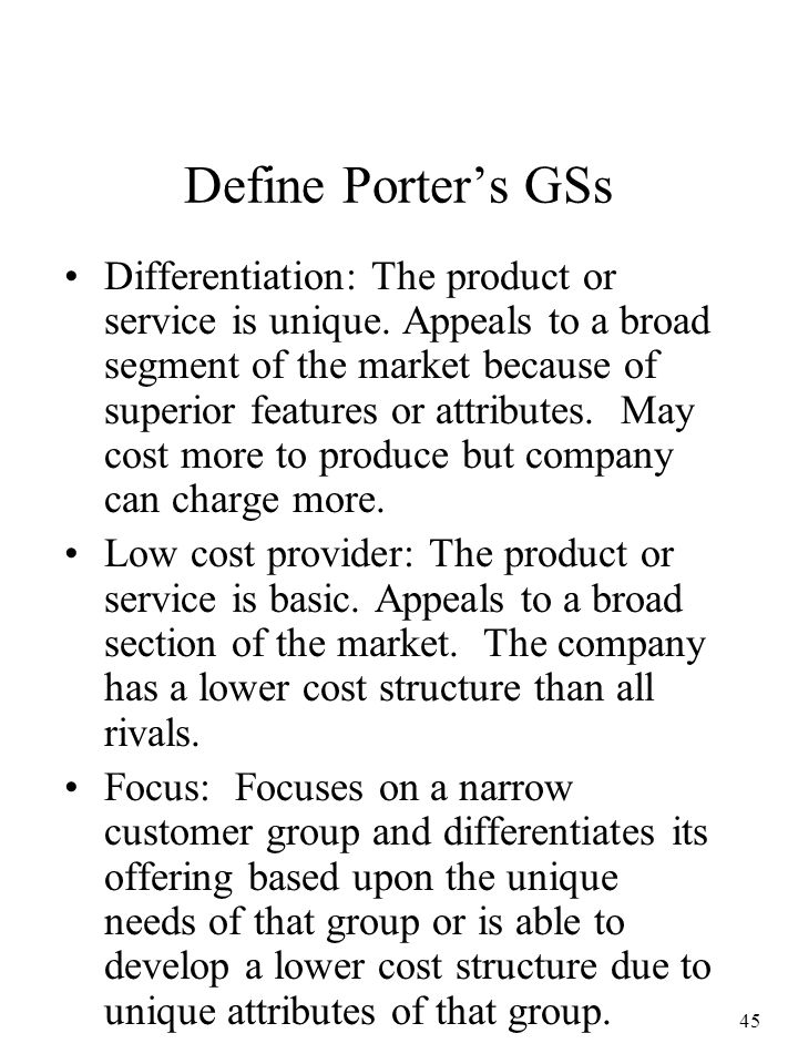 Define Porter's GSs