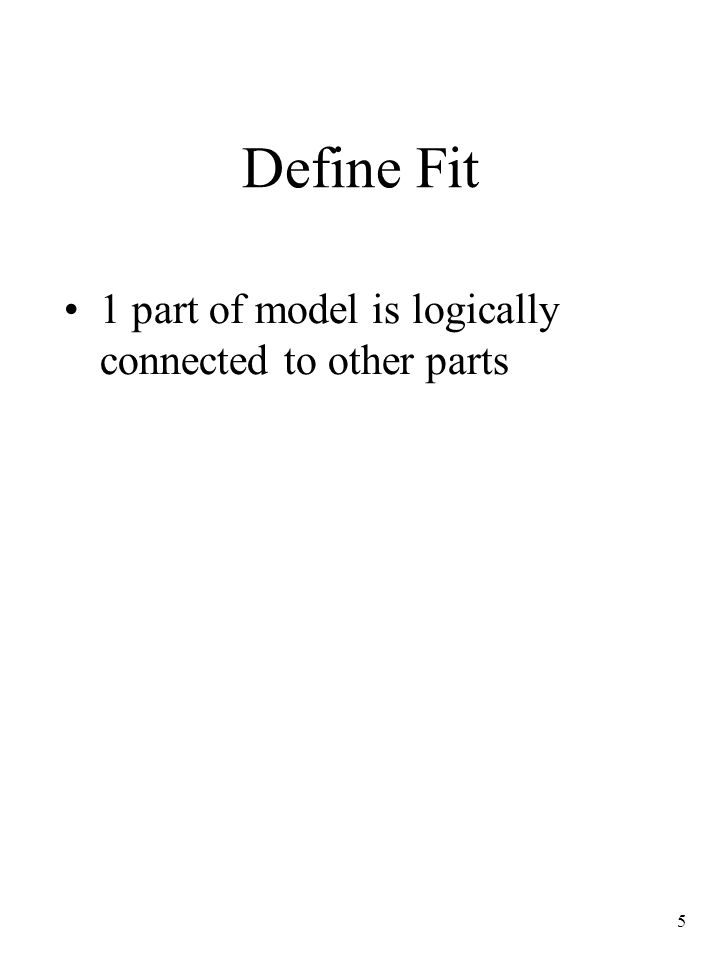 Define Fit 1 part of model is logically connected to other parts 7