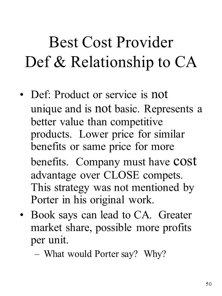 Best Cost Provider Def & Relationship to CA