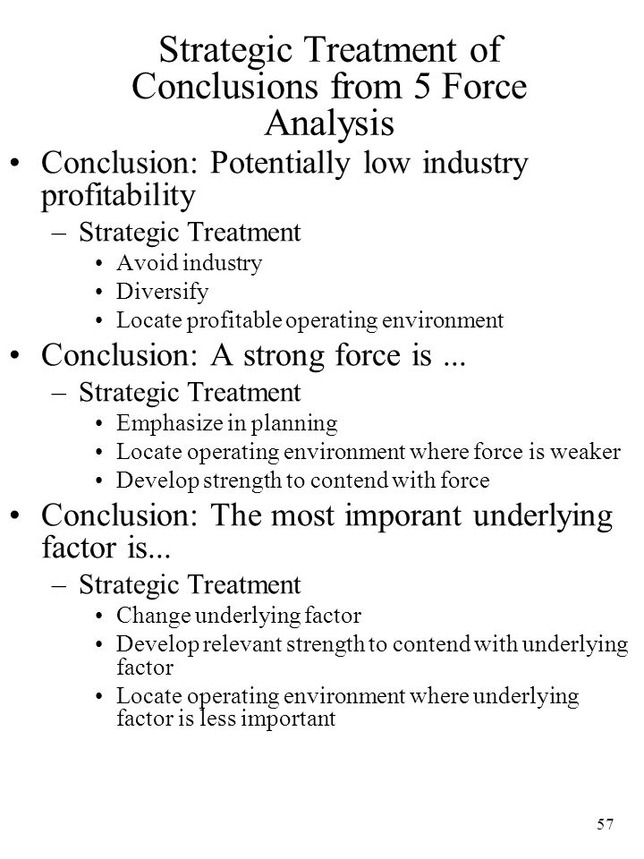 Strategic Treatment of Conclusions from 5 Force Analysis