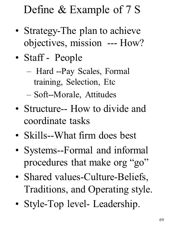 Define & Example of 7 S Strategy-The plan to achieve objectives, mission --- How Staff - People.