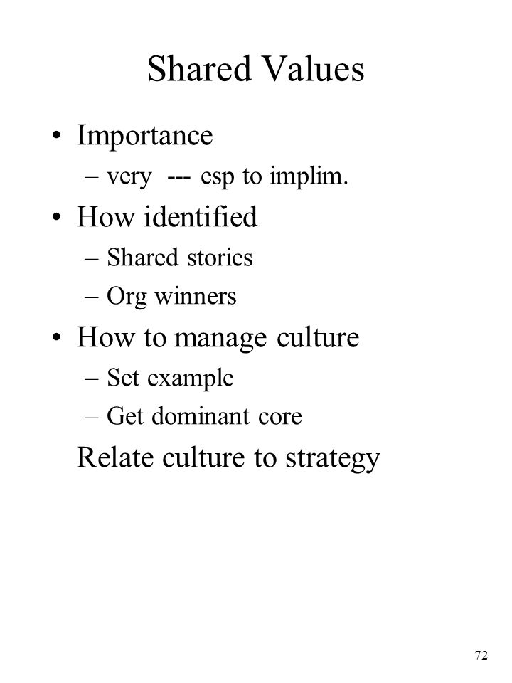 Shared Values Importance How identified How to manage culture