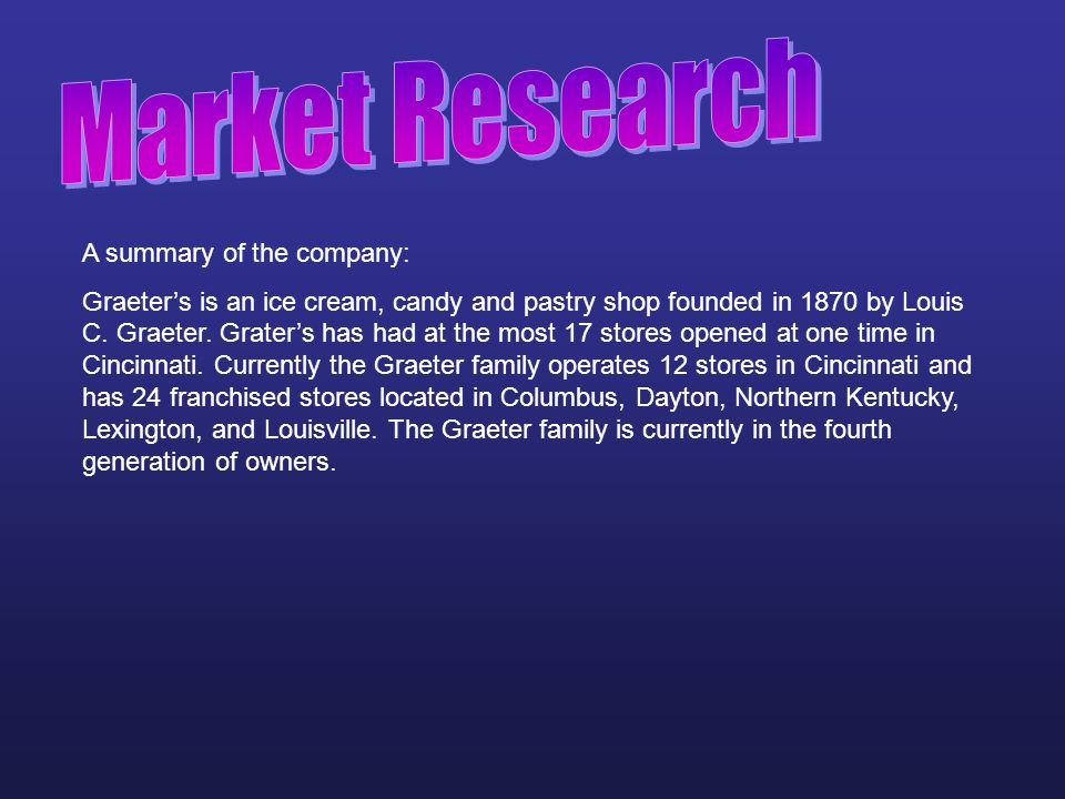 Market Research A summary of the company: