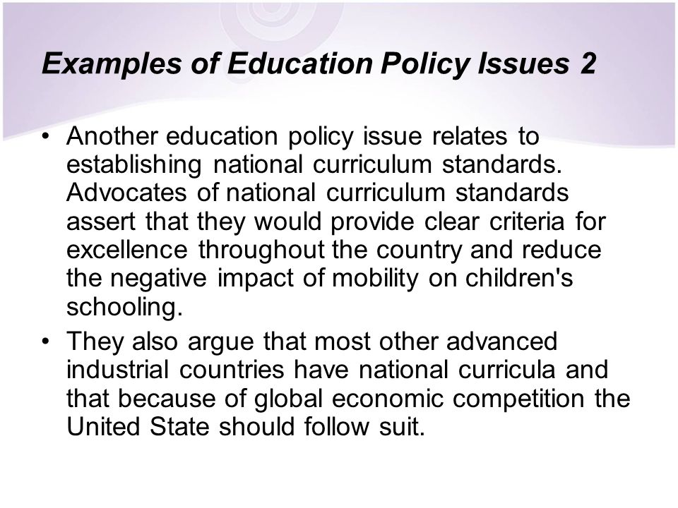 Examples of Education Policy Issues 2