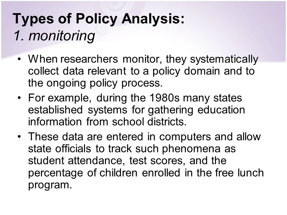 Types of Policy Analysis: 1. monitoring