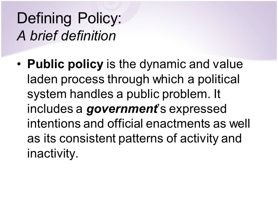 Defining Policy: A brief definition