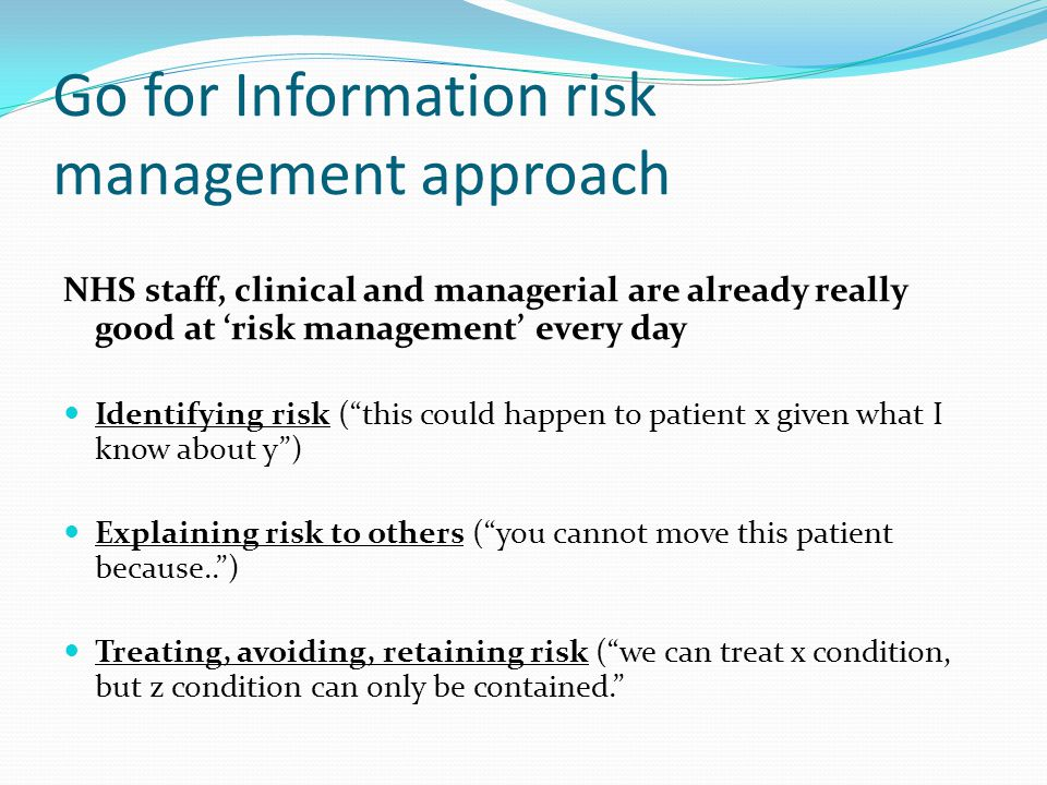 Go for Information risk management approach