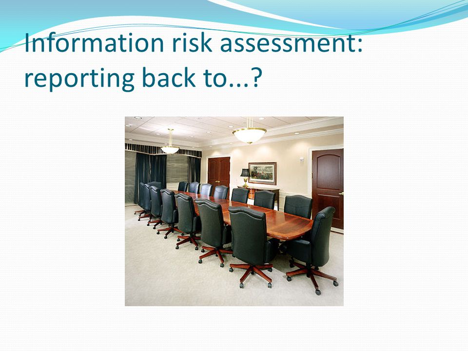Information risk assessment: reporting back to...