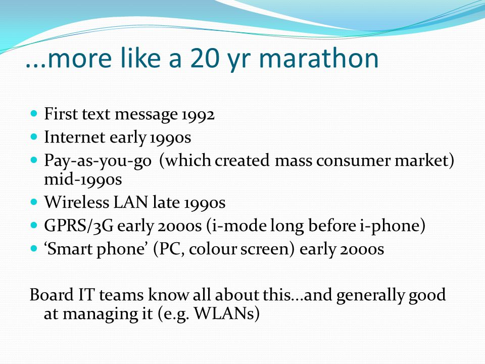 ...more like a 20 yr marathon First text message 1992