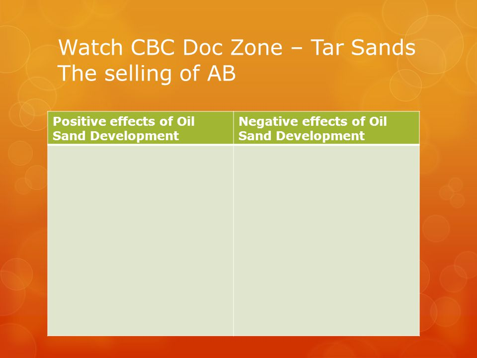 Watch CBC Doc Zone – Tar Sands The selling of AB