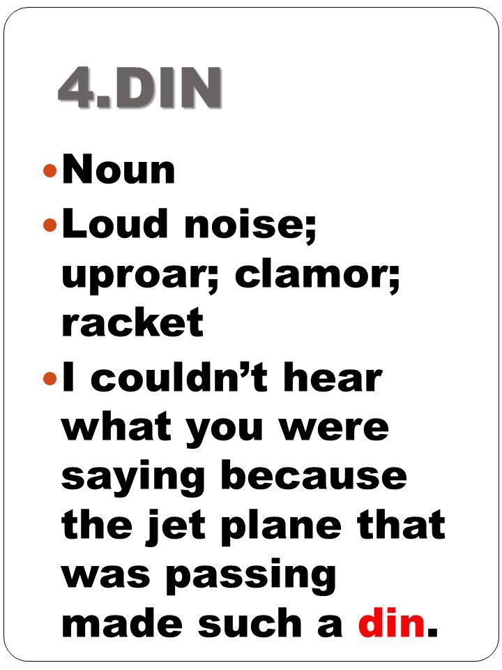4.DIN Noun Loud noise; uproar; clamor; racket