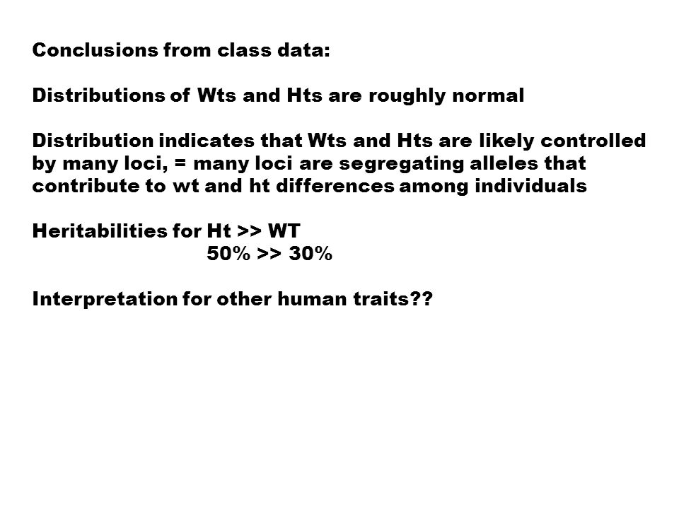 Conclusions from class data: