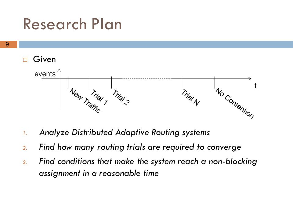 Research Plan Given Analyze Distributed Adaptive Routing systems