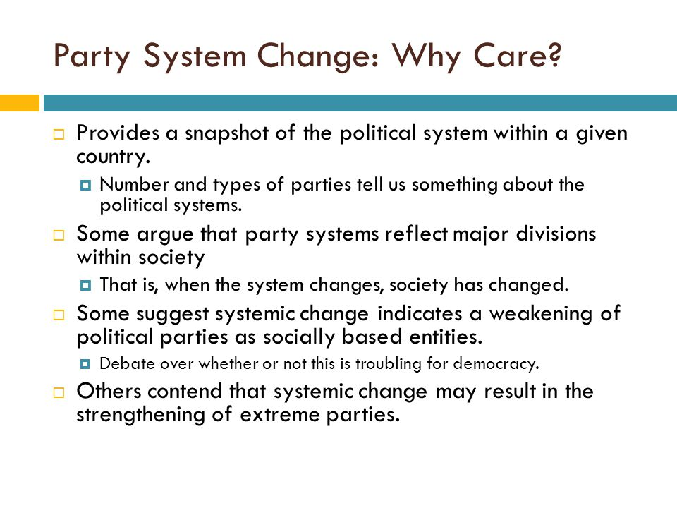 Party System Change: Why Care