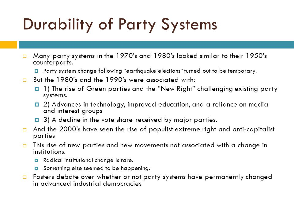 Durability of Party Systems