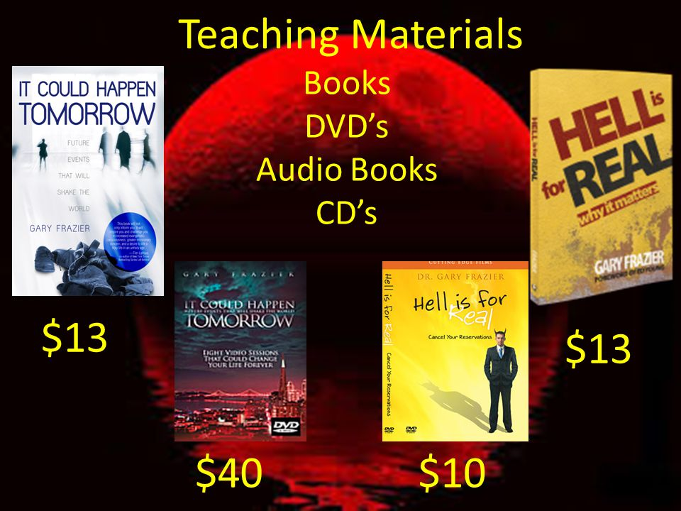 Teaching Materials Books DVD's Audio Books CD's $13 $13 $40 $10