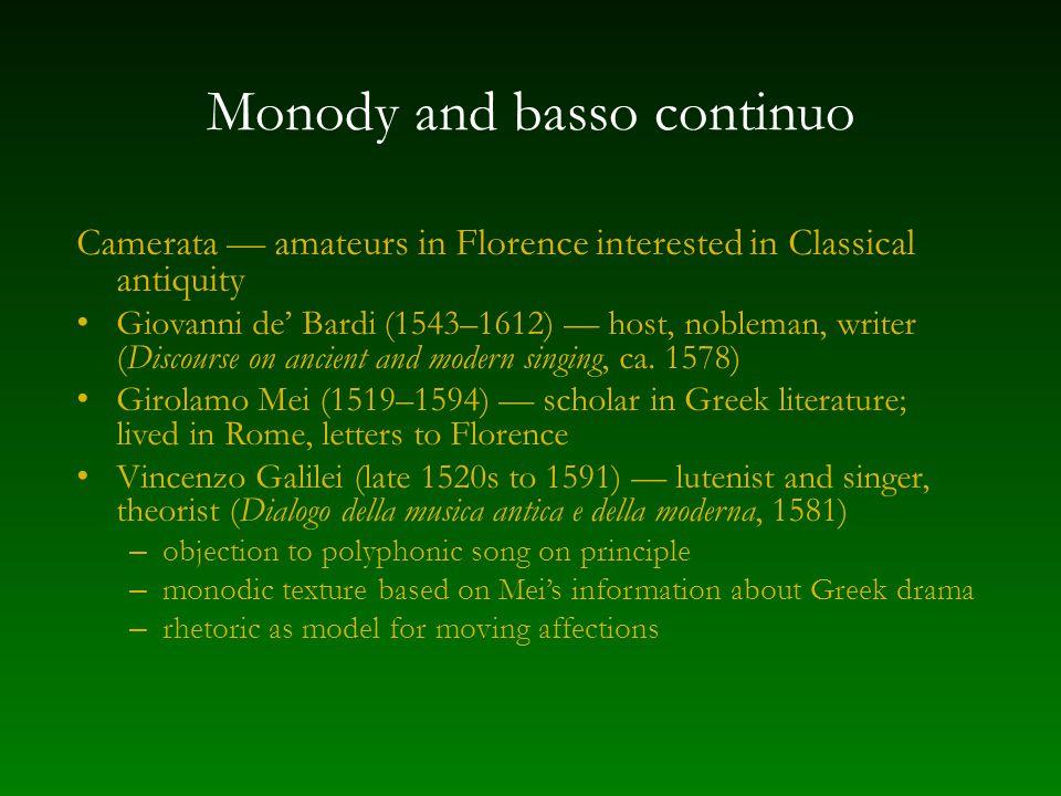 Monody and basso continuo