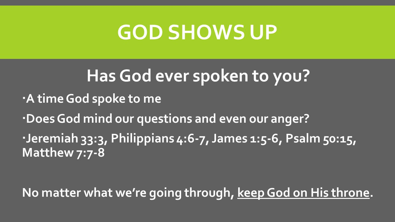 Has God ever spoken to you