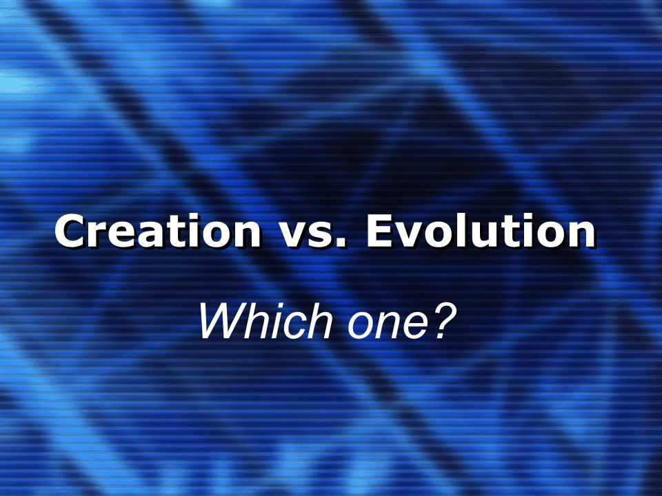 Creation vs. Evolution Which one