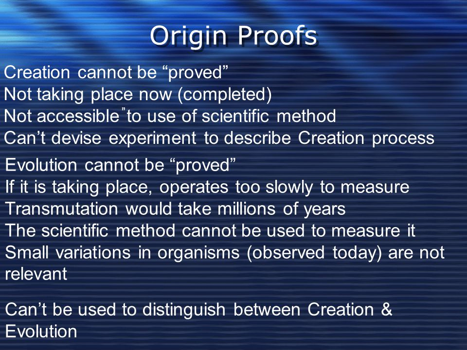 Origin Proofs Creation cannot be proved