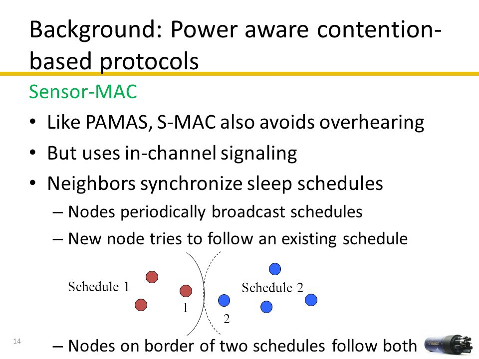 Background: Power aware contention-based protocols