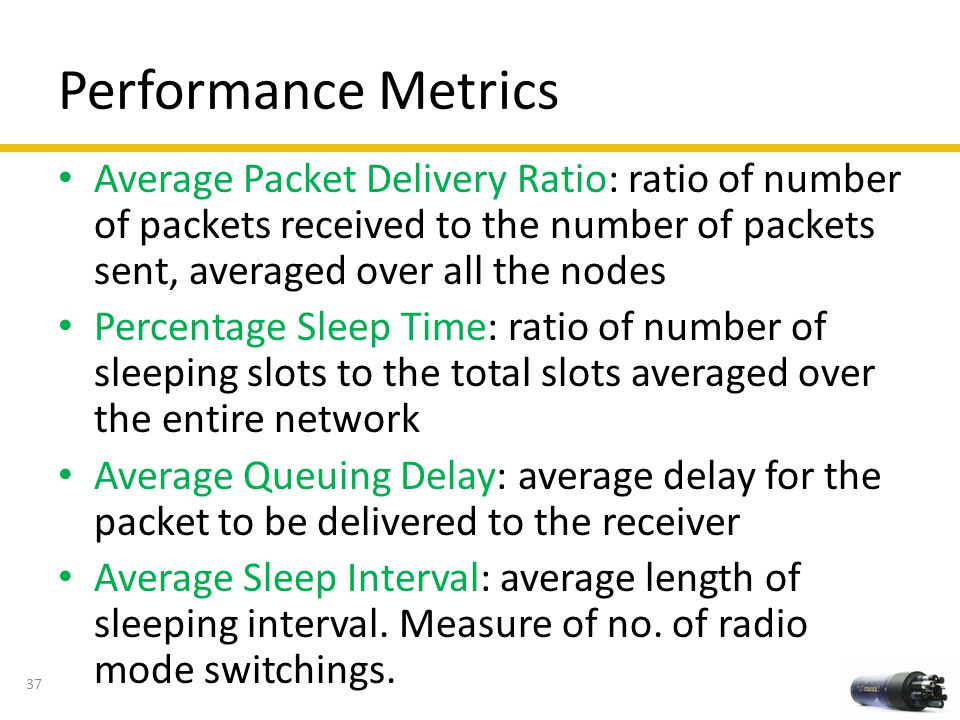 Performance Metrics Average Packet Delivery Ratio: ratio of number of packets received to the number of packets sent, averaged over all the nodes.